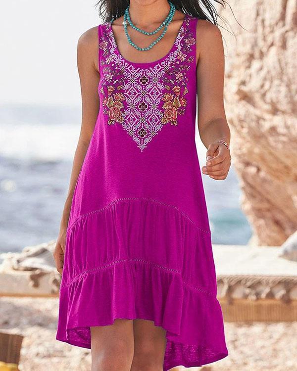 Embroidered Sleeveless Big Swing Vest Dress