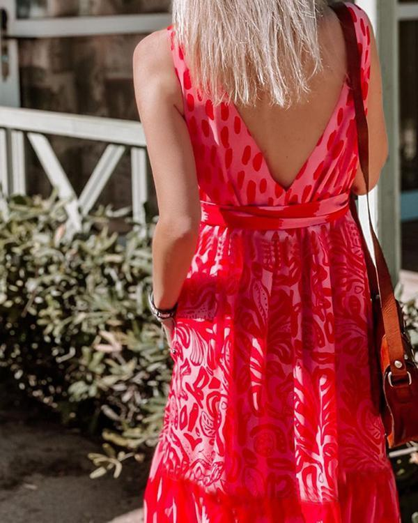 Fashion Red Print Sleeveless Maxi dress