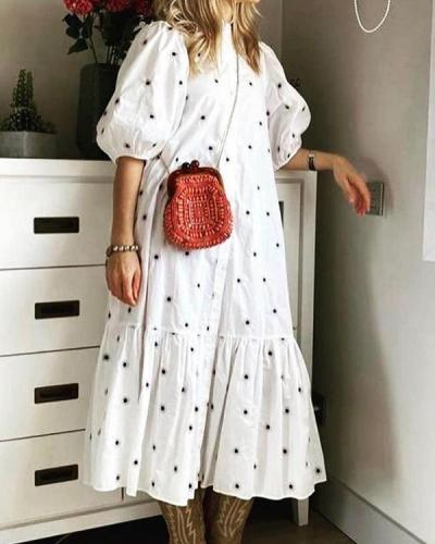 Sweet Style Loose Lantern Sleeve Maxi Dress