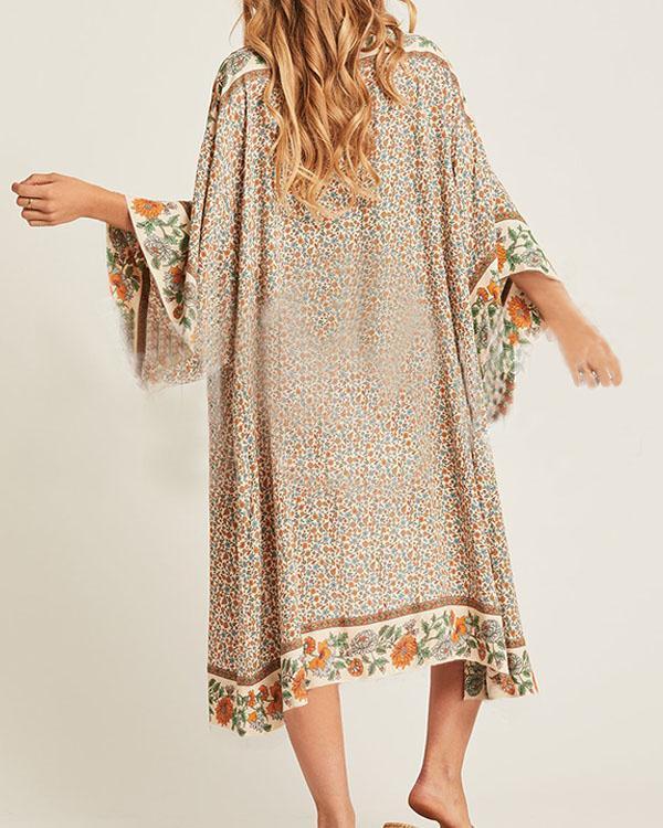 Cotton Bohemian Floral Sunscreen Bikini Cover-up