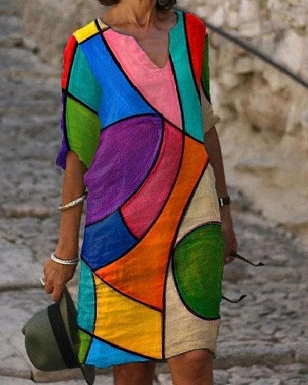 Women Casual Daily Printed Half Sleeve Shift Midi Dress
