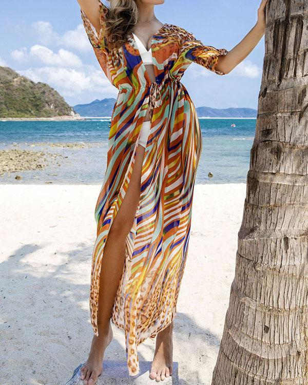 Womens Colorful Chiffon Loose Bathing Suit Lace-up Cardigan