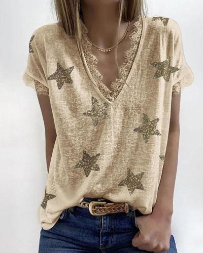 Womens Short Sleeve Lace Trim Star Print Tee Shirts