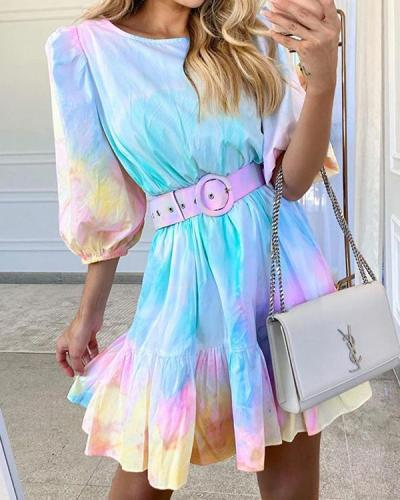 Tie Dye Print Puff Sleeve Round Neck Summer Dress