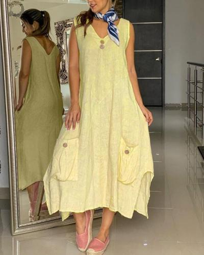 Pocket Sleeveless Maxi V Neck Solid Color Button Dresses