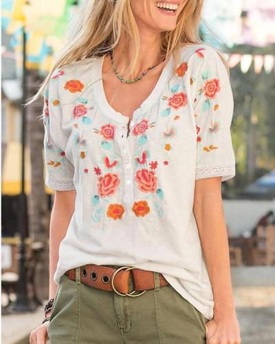 Women's Trendy and Delicate Embroidery T-shirt