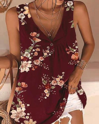 Plus Size Multiflora Tie Dye V Neck Tank&Vest