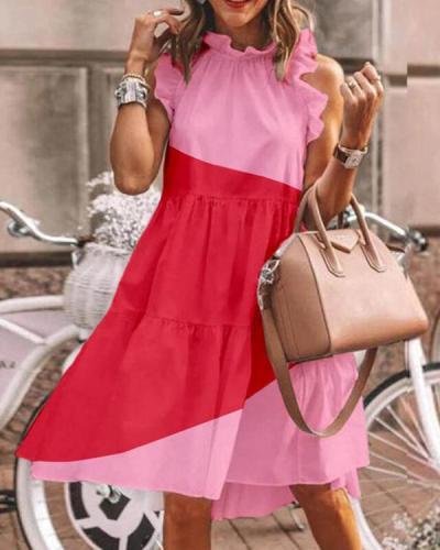 Casual Color Block Mini Dress