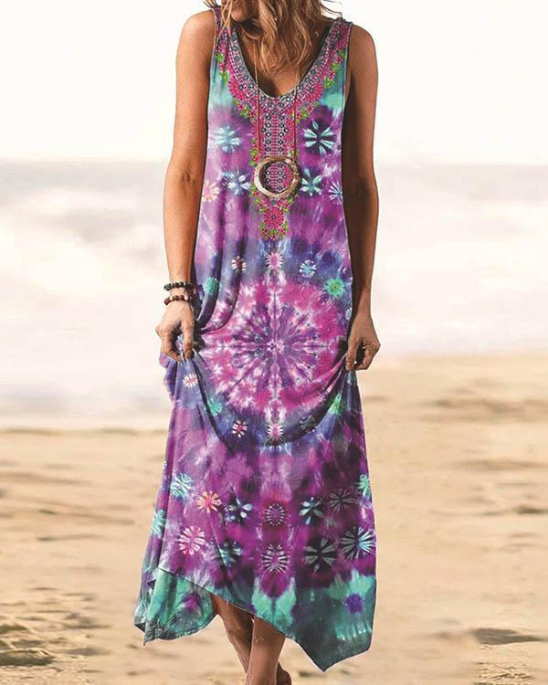Bohemian Print Tie Dye Irregular Tank Dress