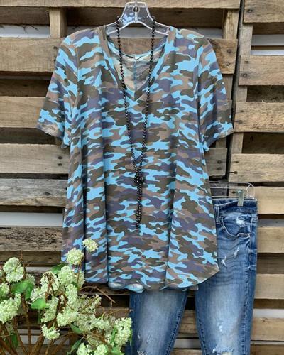 Camo Short Sleeve Printed Cotton-blend Crew Neck Casual Top