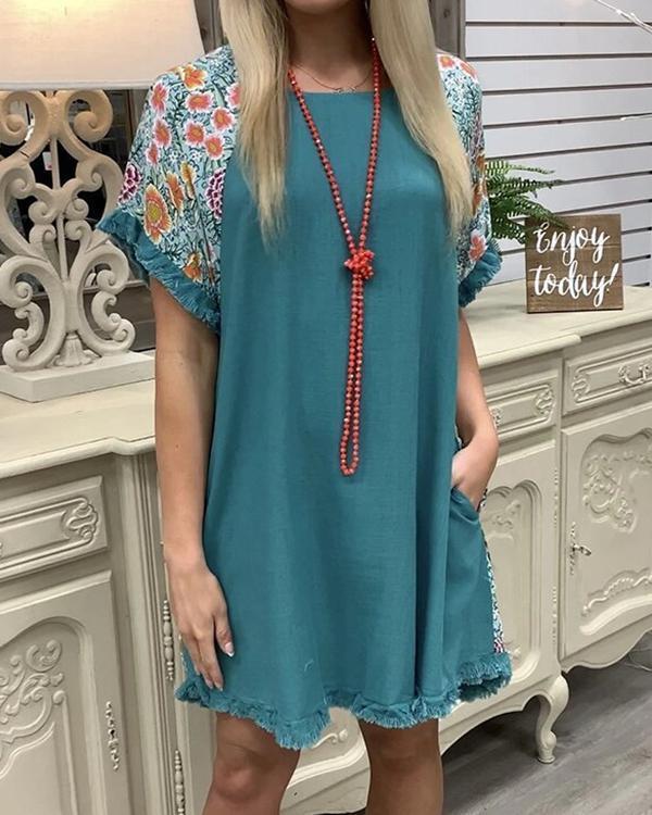 A-Line Cotton Short Sleeve Flower Casual Dresses