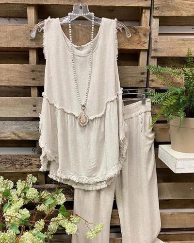 Sleeveless Casual Linen Vest+Pants