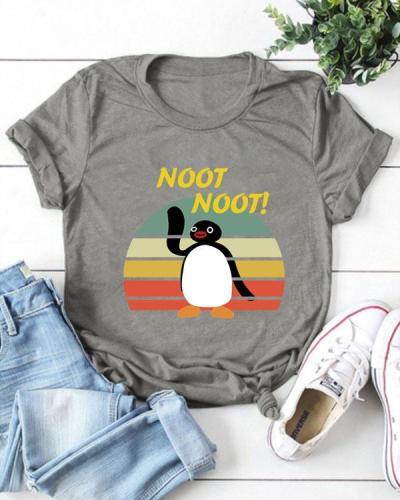 Cute Cartoon Print T-shirt Short Sleeve Casual Tops