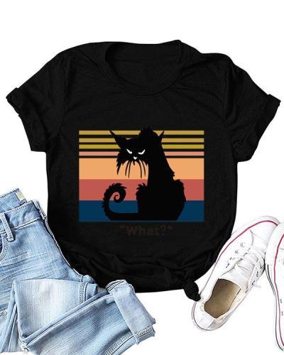 Cute Cartoon Cat Print T-shirt Short Sleeve Casual Tops