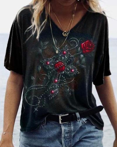 Fashion Street Rose Skull Print Casual V Neck Shirt&Top