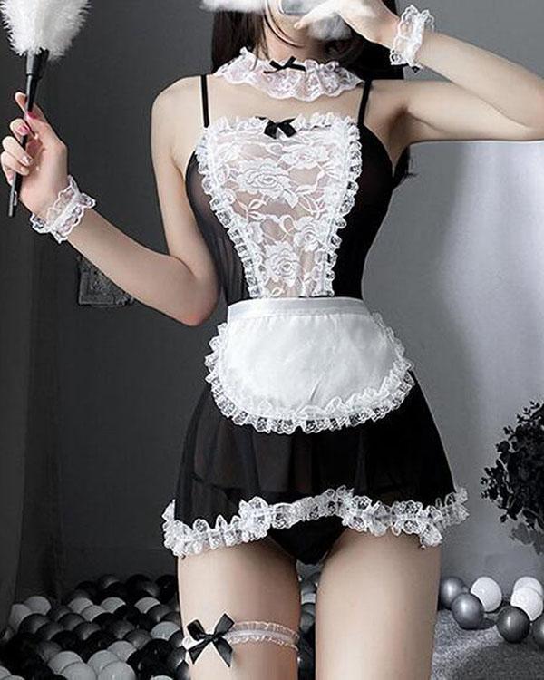 Sexy Maid Cosplay Costume Ladies Sleepwear Erotic Lingerie Nightwear Set