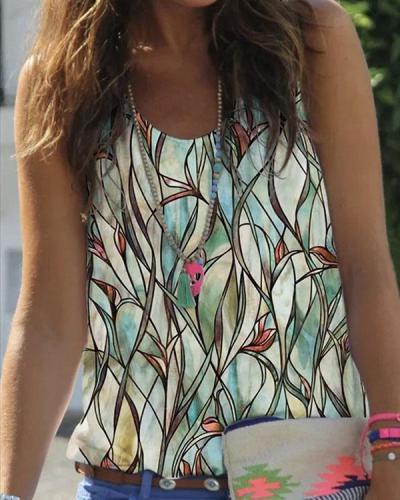 Plus Size Round Neck Sleeveless Plant Print Vest