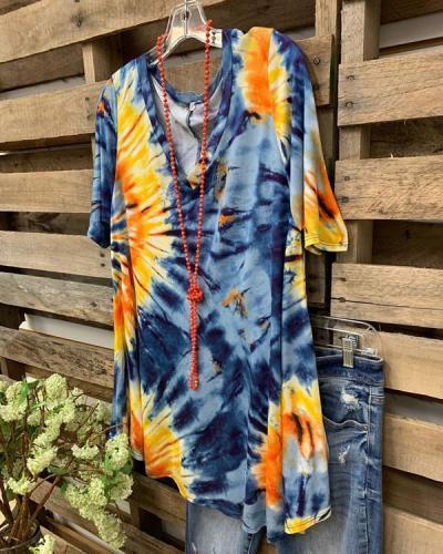 Tie-Dye Short Sleeve Vintage Printed Shirts & Tops