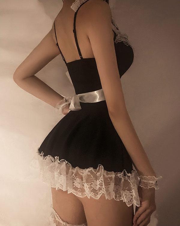 Sexy Maid Cosplay Costume Ladies Roleplay Sleepwear Erotic Lingerie Set