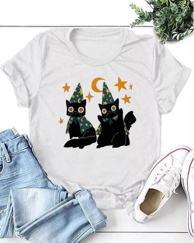 Black Wizard Cats Casual T-shirt