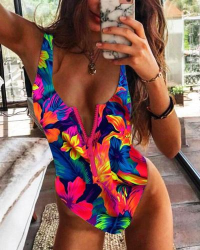 Flower Leaves Print Front Zipper One Piece Women's Swimsuit