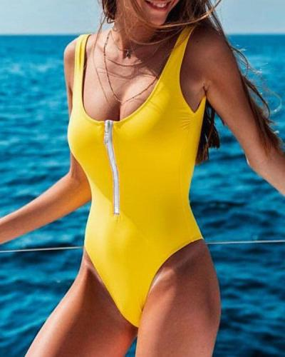Solid Color Front Zipper One Piece Women's Swimsuit