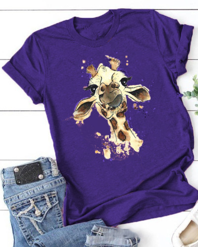 The Giraffe Printing Short Sleeve T-shirt