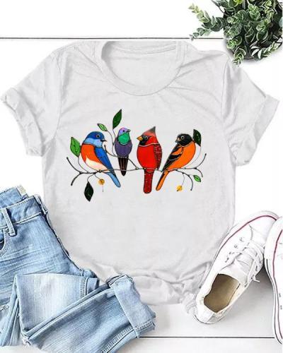 Women Print Birds Casual T-shirt