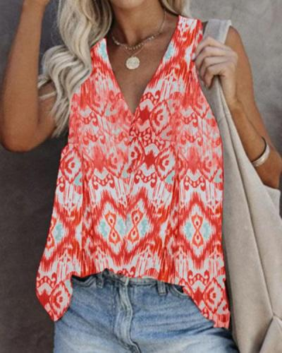 Women's Casual Sleeveless Printed T-Shirt Plus Size Loose Vest Top