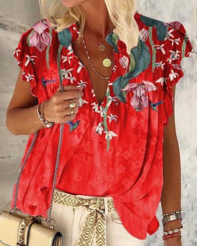 Women's Floral Print V-Neck Sleeveless T-Shirt