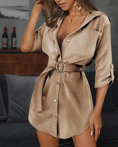 Women Turn-down Collar Belted-Shirt Dress