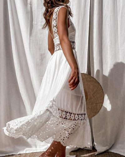 Cotton Lace Patchwork Elegant Maxi Dress