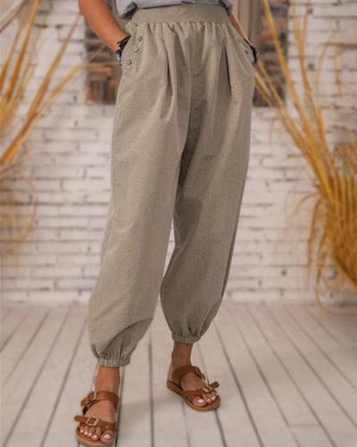 Vintage Solid Pocket Linen Trousers