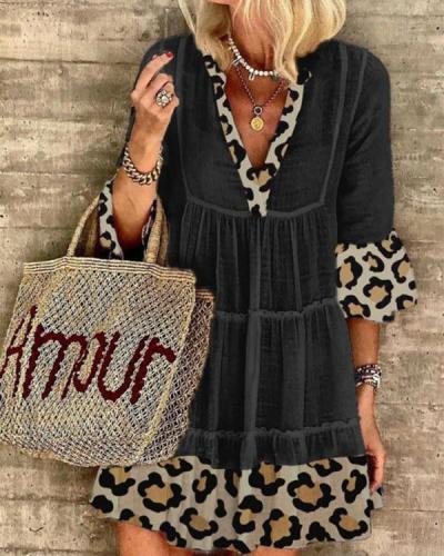 Casual Leopard Print Cotton Blend-V-neck Dresses