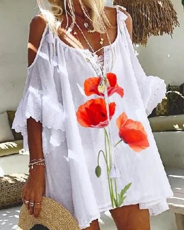 White Printed Floral Shift Cold Shoulder Dresses