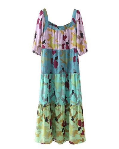Women Short Sleeve A Line Print Nap Dress