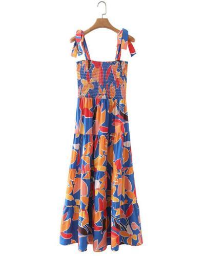 Women Cottagecore Dress A Line Print Lace up Strap Dress