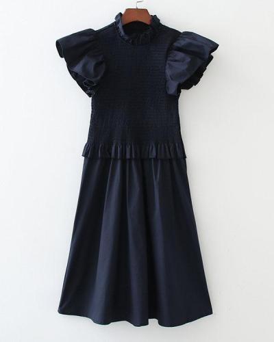Flying Sleeve Ruffle Elastic Solid Mini Nap Dress