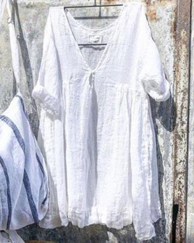 Solid Linen Cotton Loose V Neck Shirt&Top