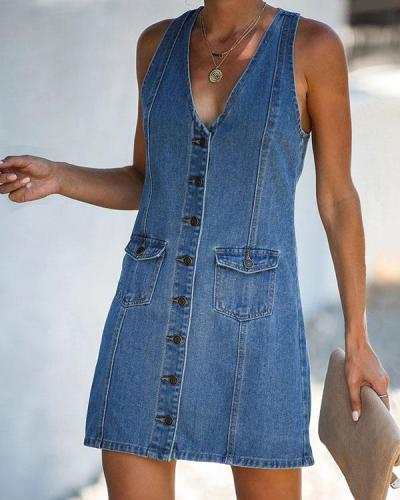 Casual Solid Denim V Neck Button up Tank Dress