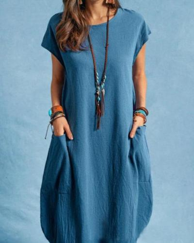 Women Plus Size Simple Pockets Midi Dresses