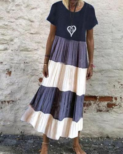 Holiday Colorblock Crew Neck Maxi Dress without Necklace