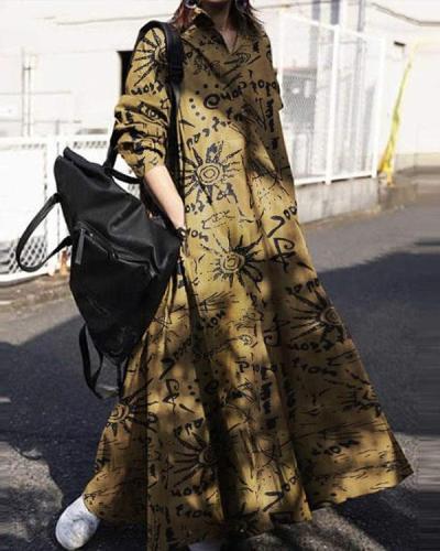 Women Linen Bohemia Print Loose Maxi Dresses
