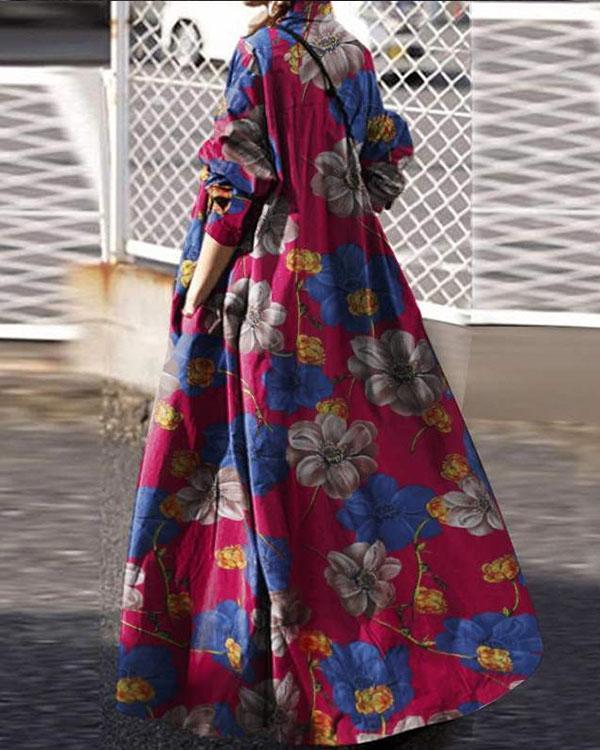 Women Vacation Bohemia Print Loose Maxi Dresses
