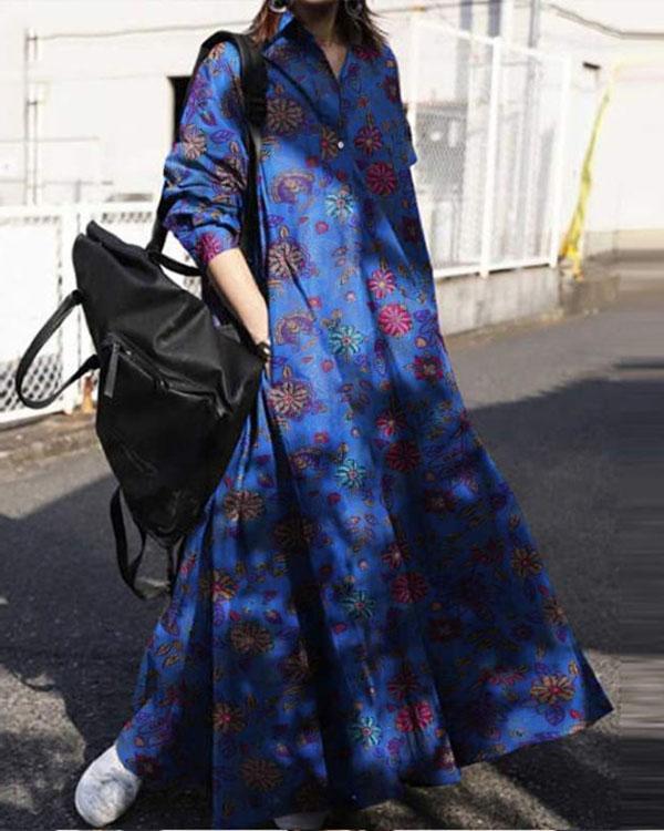 Womens Collared Check Print A-Line Casual Loose Kaftan Long Maxi Dress