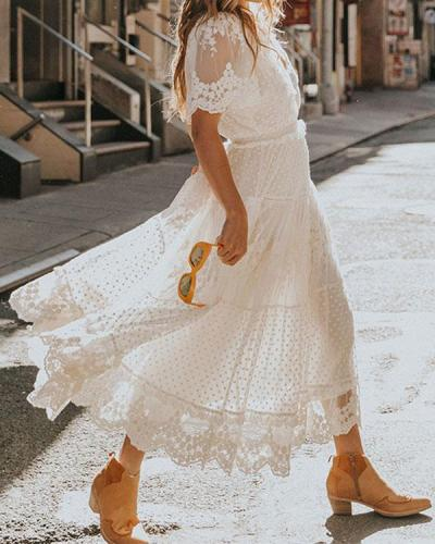 Elegant Gown Lace Crochet Party Dress