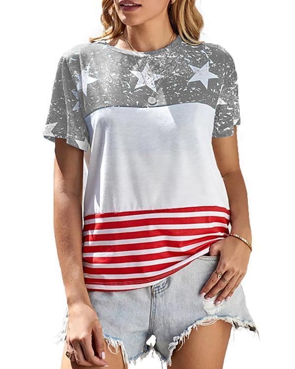 American Flag Color Block T-Shirt Tee - Blue