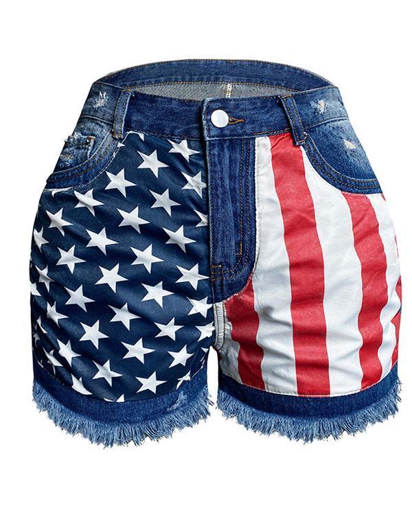 Flag Printed Denim Shorts