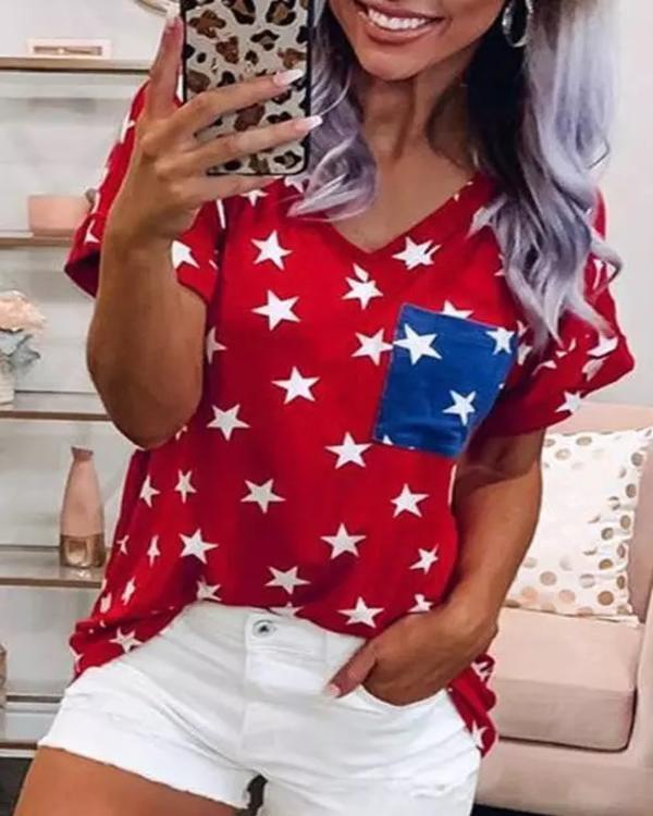 Star Pocket V-Neck T-Shirt Tee