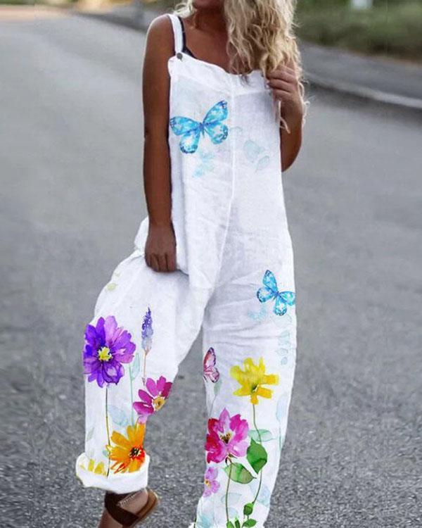 Women Linen Cotton Print Women Jumpsuit Outfit